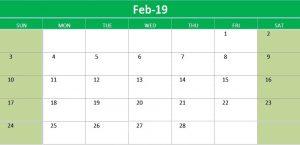Editable February 2019 Calendar Excel
