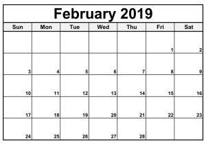 Editable February 2019 Calendar Template
