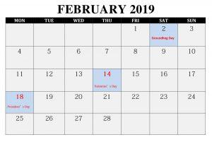 Editable February 2019 Calendar With Holidays