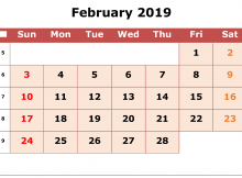 Editable February 2019 Calendar Worksheet