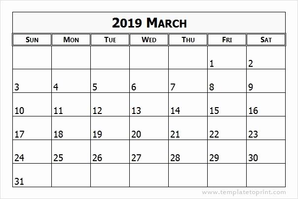 Editable March 2019 Blank Calendar