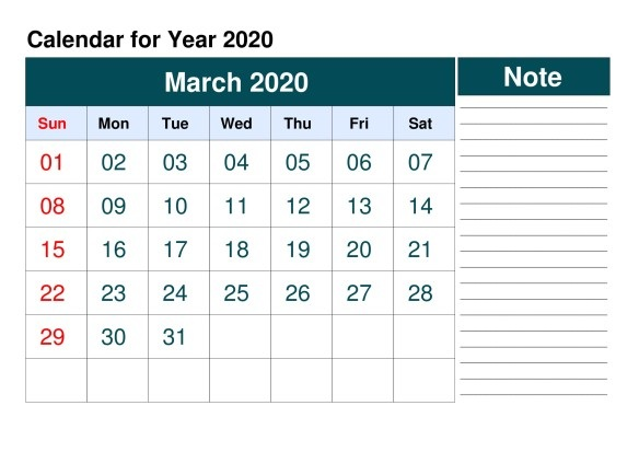 Editable March 2020 Calendar Template with Notes
