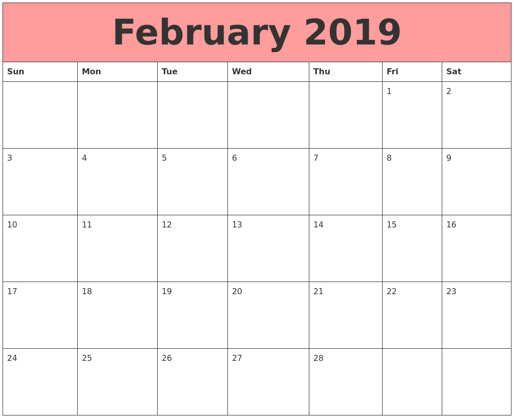 Feb 2019 Calendar Printable Template