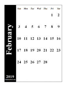 Feb 2019 Calendar PDF Portrait