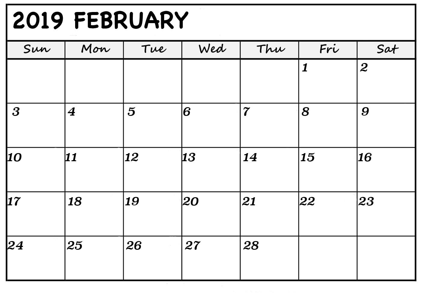 Feb 2019 Calendar Printable