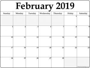 Feb 2019 Calendar Template