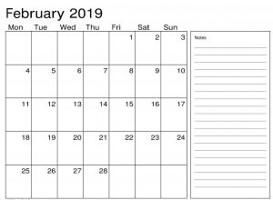 Feb 2019 Calendar With Excel Notes