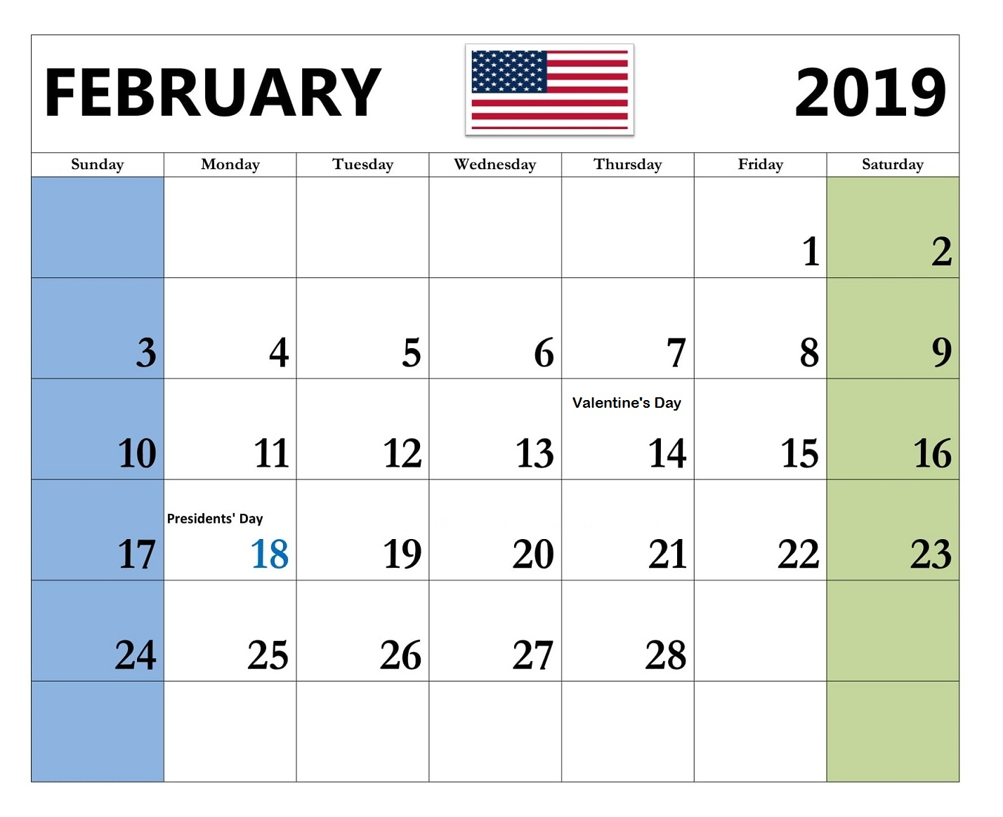 Feb 2019 Calendar With Holidays USA