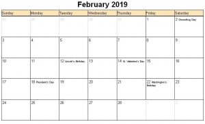 Feb 2019 Holidays Calendar