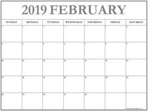 Feb 2019 Printable Calendar