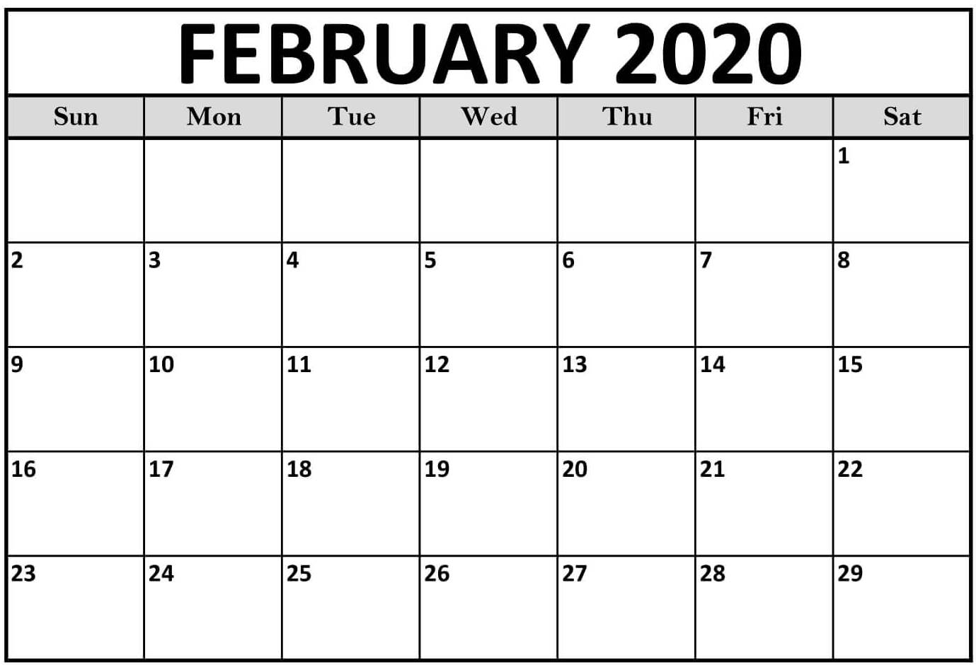 Feb 2020 Calendar Printable Template