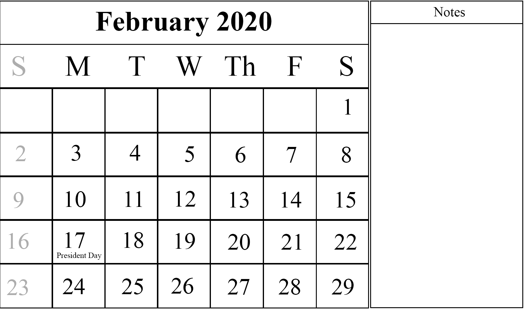 Feb 2020 Calendar with Notes