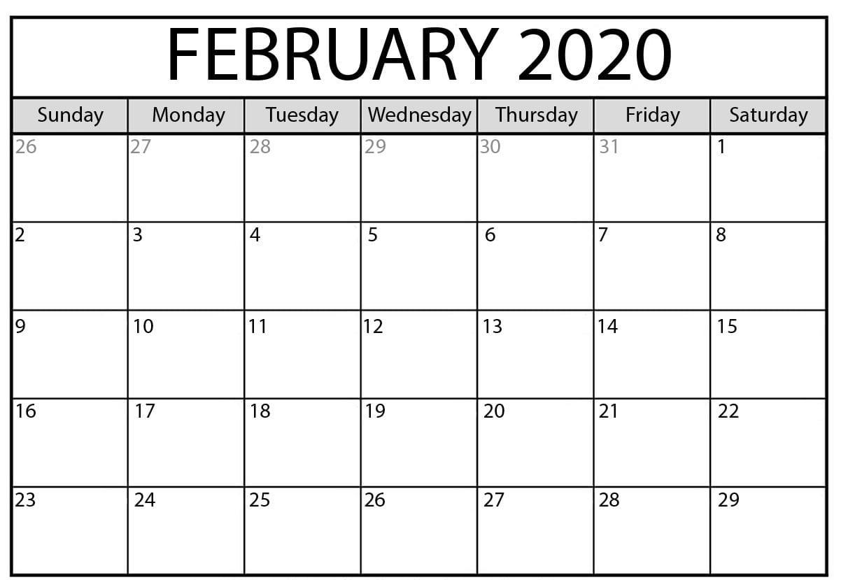 Feb 2020 Calendar
