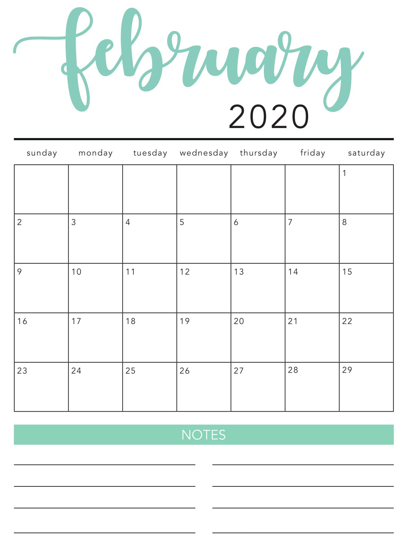 Feb 2020 Wall Calendar