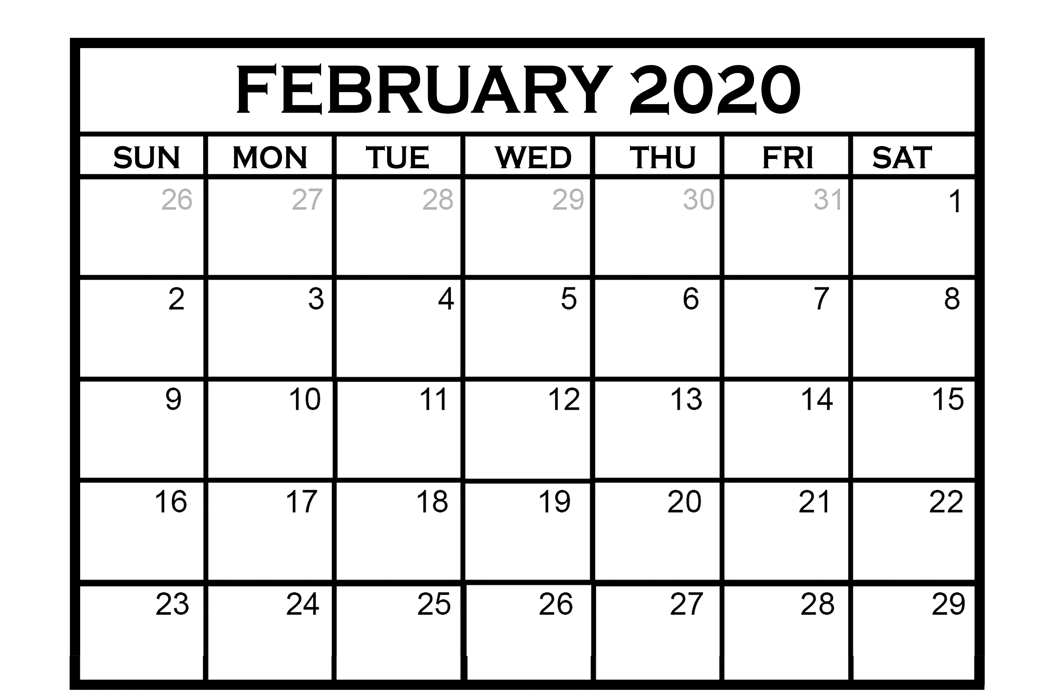 Feb Calendar 2020