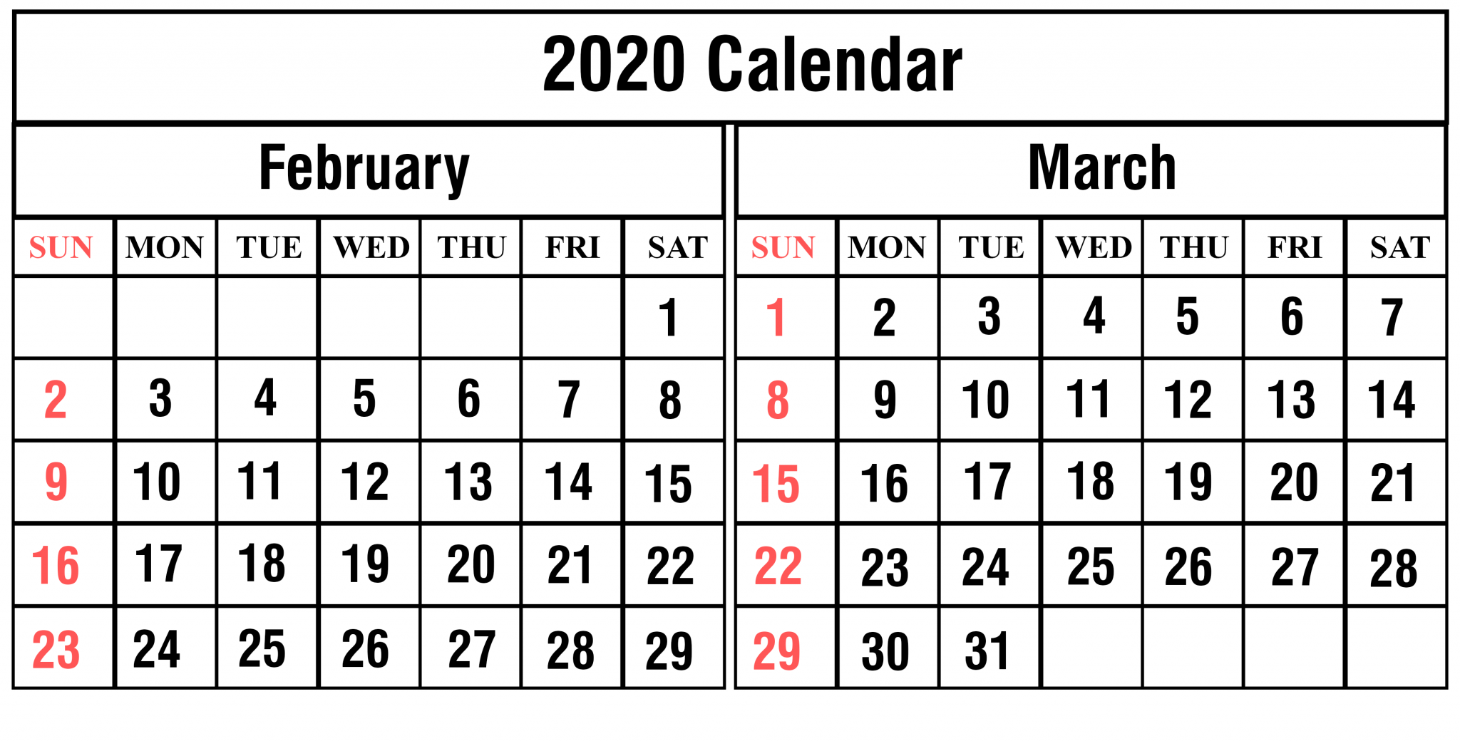 Feb Mar 2020 Calendar