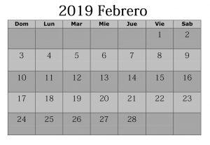 Febrero 2019 Calendario Plantilla