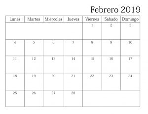 Febrero 2019 Calendario Word