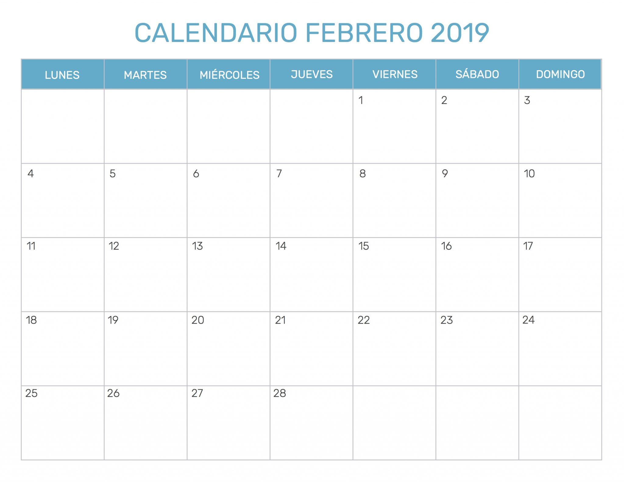 Febrero 2019 Calendario