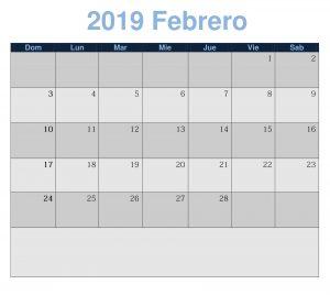 Febrero 2019 Imprimir Calendario
