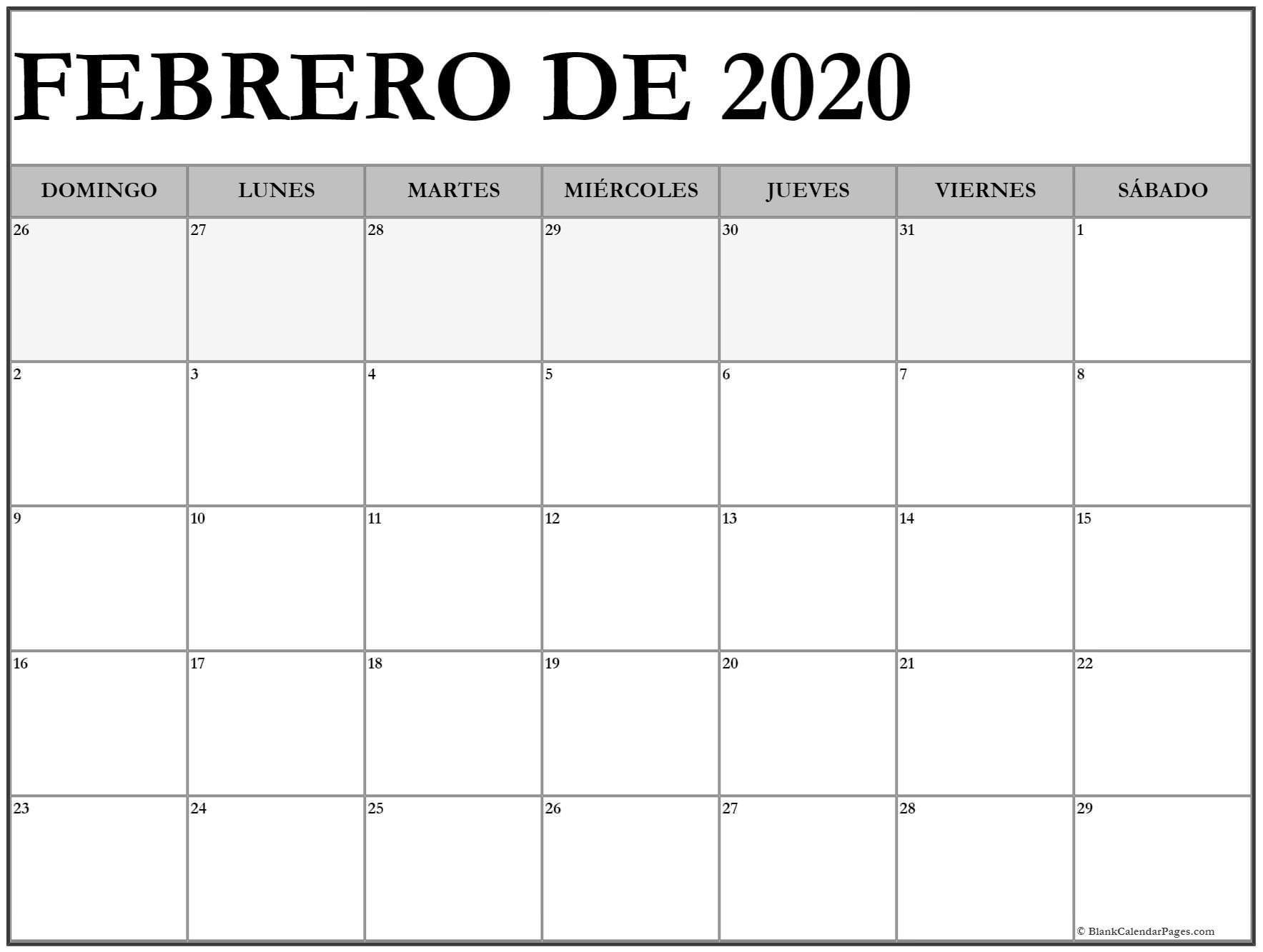 Febrero De 2020 Calendario