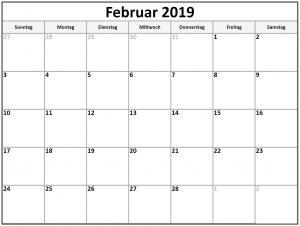 Februar 2019 PDF Kalender