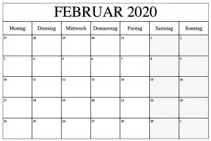 Februar 2020 Kalender zum Ausdrucken