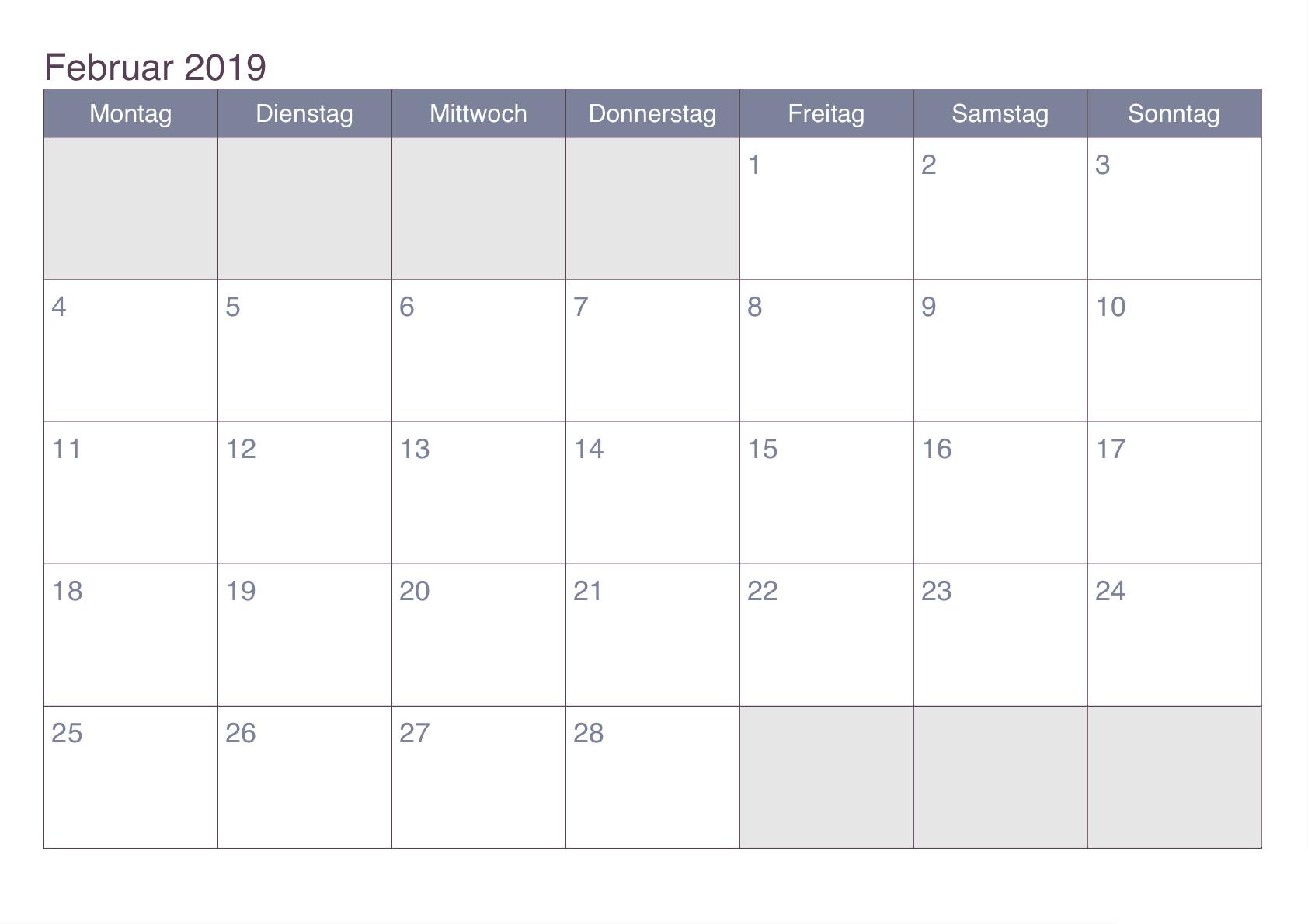 Februar Kalender 2019 Excel