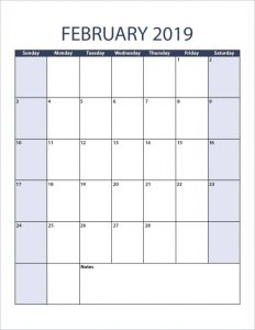 February 2019 Blank Calendar Portrait Meal Planner