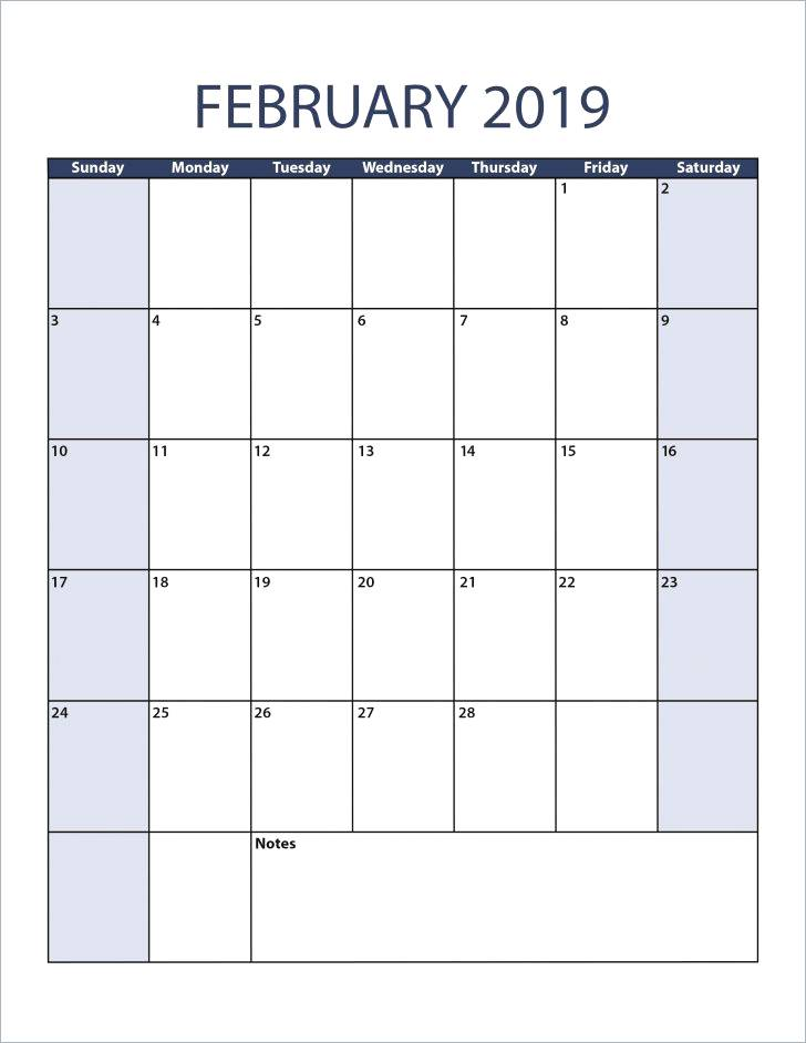 February 2019 Blank Calendar Portrait Meal Planner