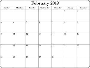 February 2019 Blank Editable Calendar