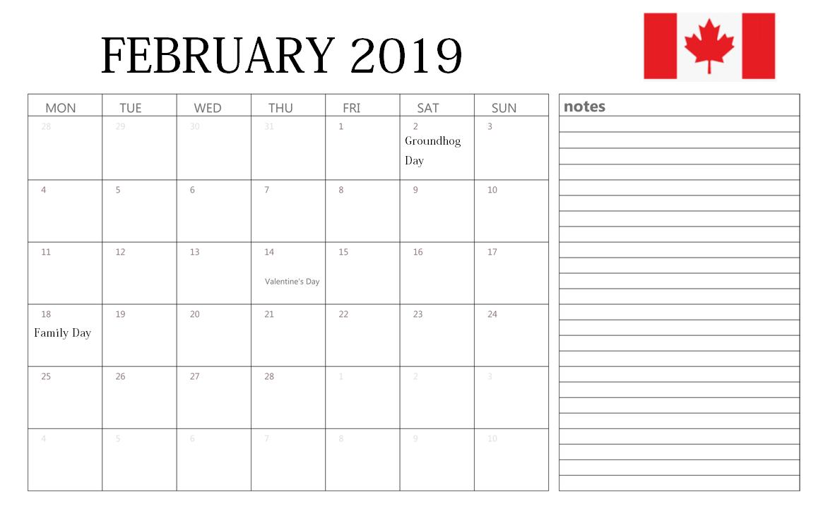 February 2019 Calendar Canada Holiday