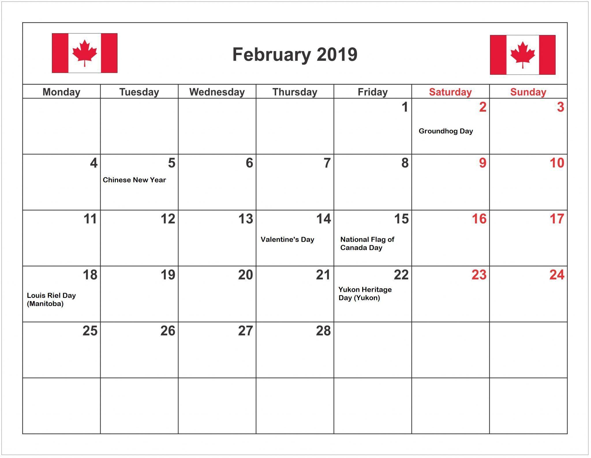 February 2019 Calendar Canada With Public Holidays