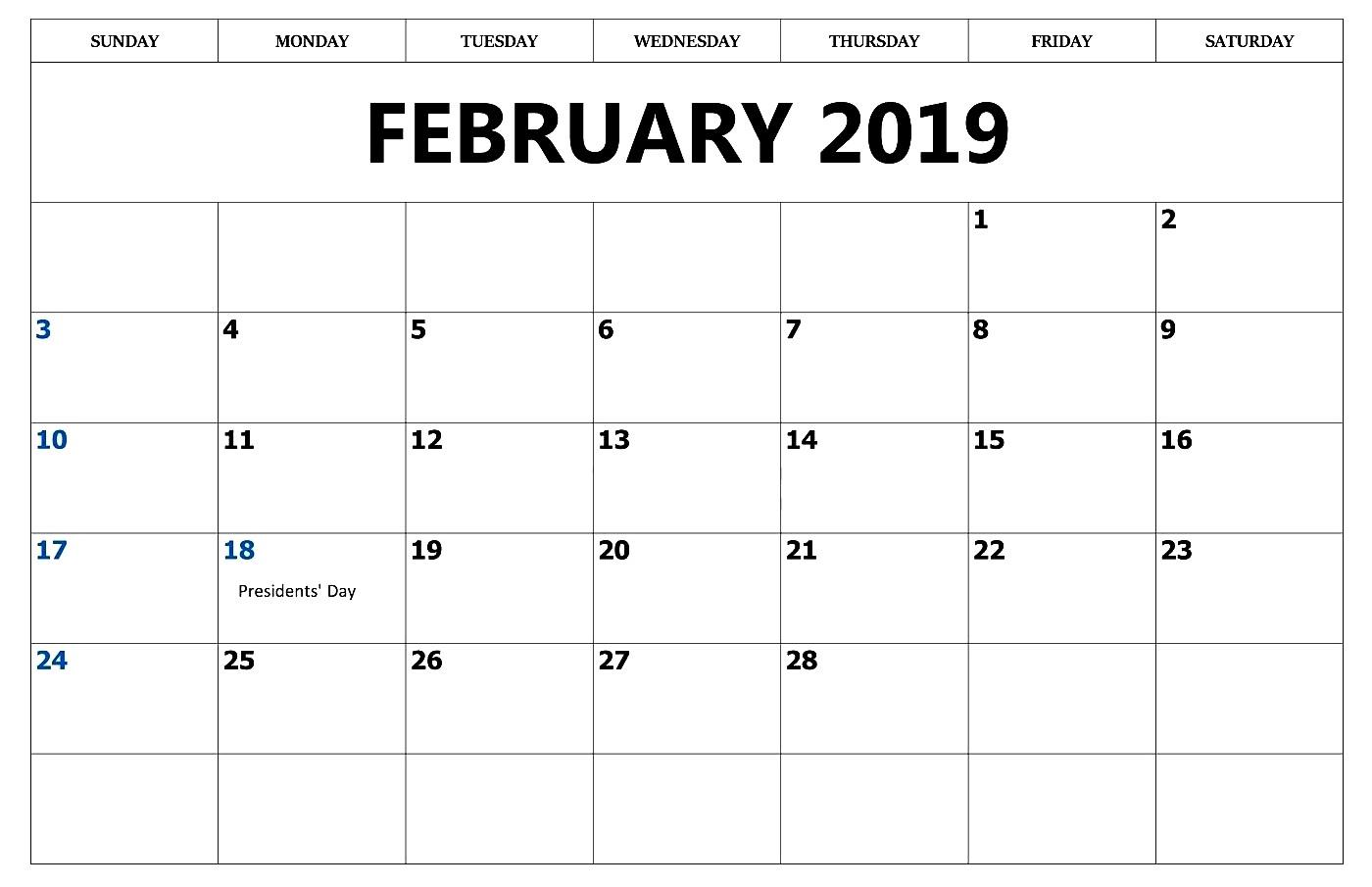 February 2019 Calendar Editable Printable
