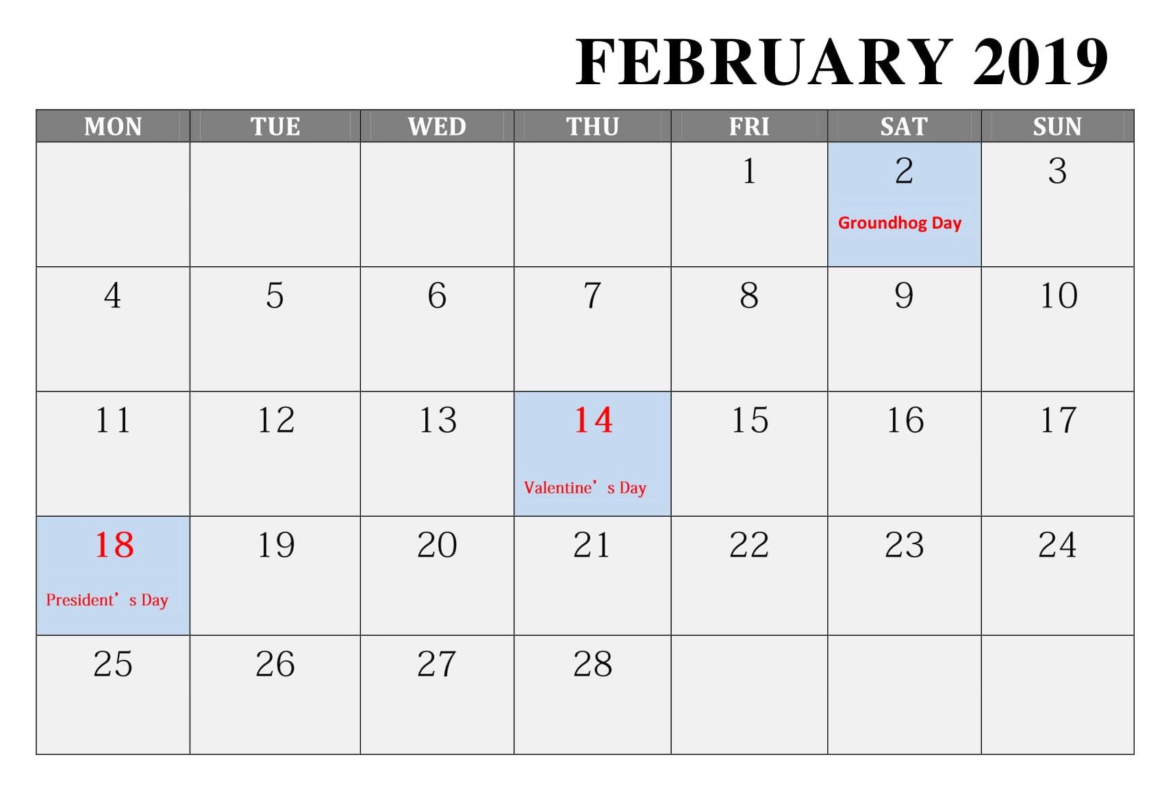 February 2019 Canada Calendar With Bank Holidays