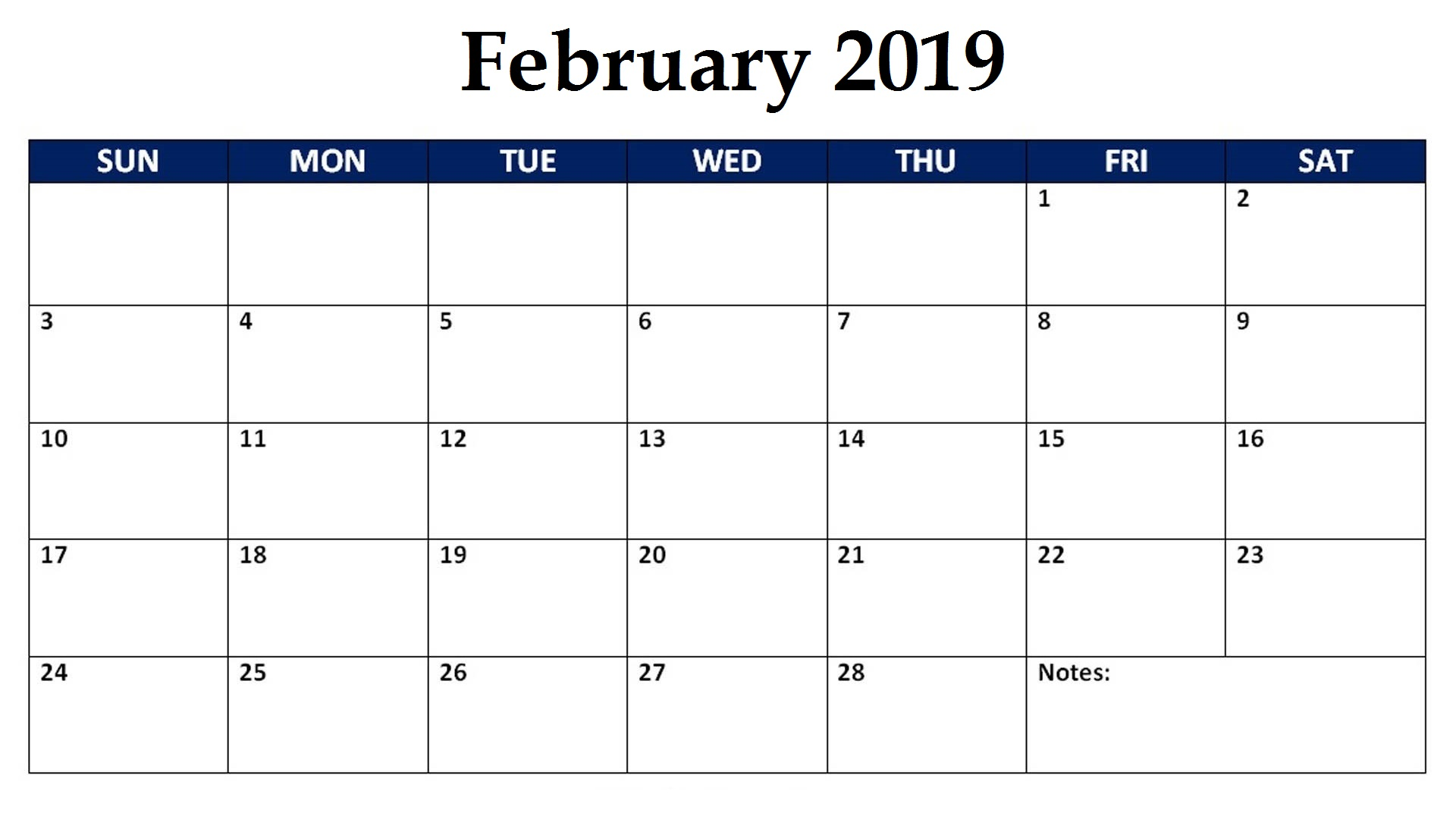 February 2019 Editable Monthly Calendar