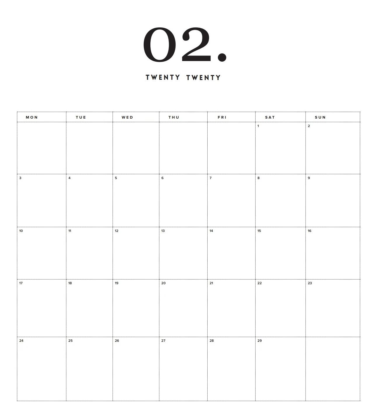 February 2020 Calendar Blank