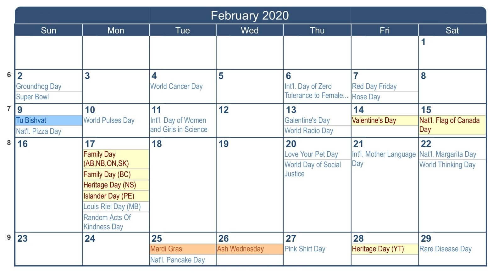 February 2020 Calendar Canada School Holidays