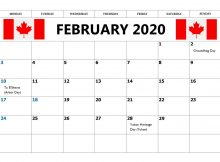 February 2020 Calendar With Canada Holidays
