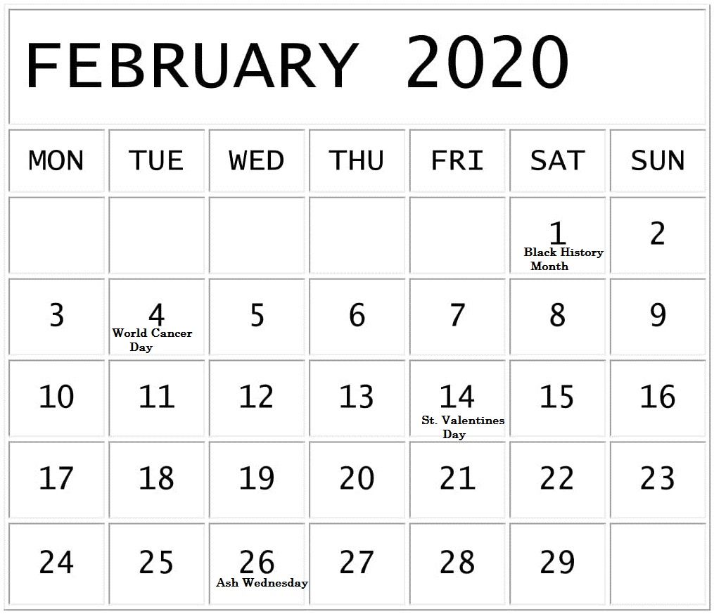 February 2020 Calendar with Federal Holidays