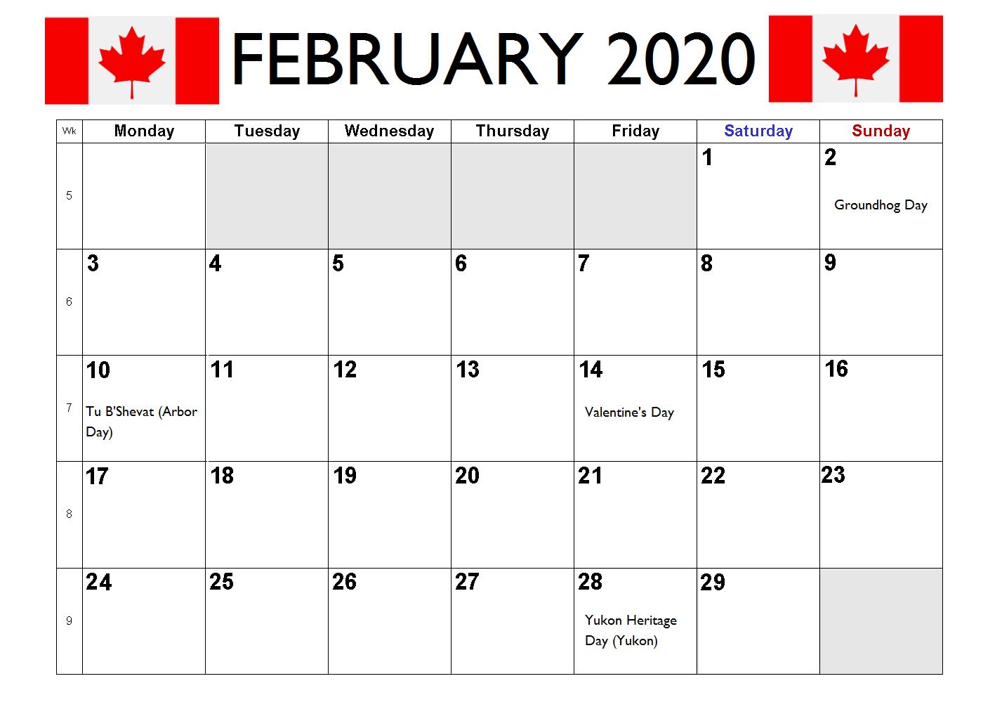 February 2020 Canada Holidays Calendar