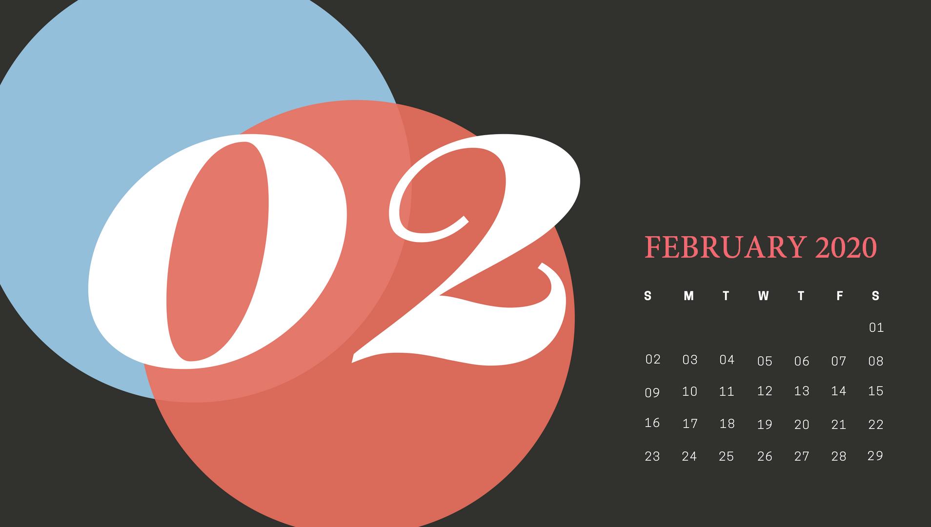 February 2020 Desktop Calendar Wallpaper