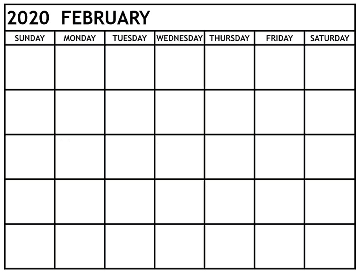 February 2020 Editable Calendar Excel