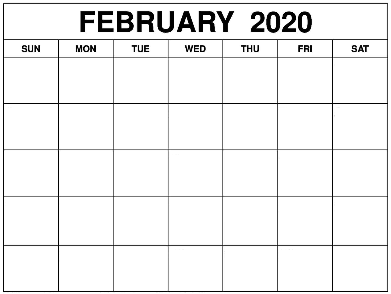 February Blank 2020 Calendar