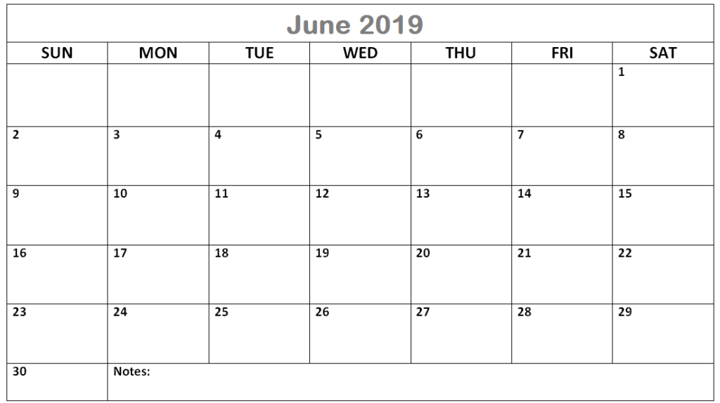 Fillable June 2019 Calendar Landscape