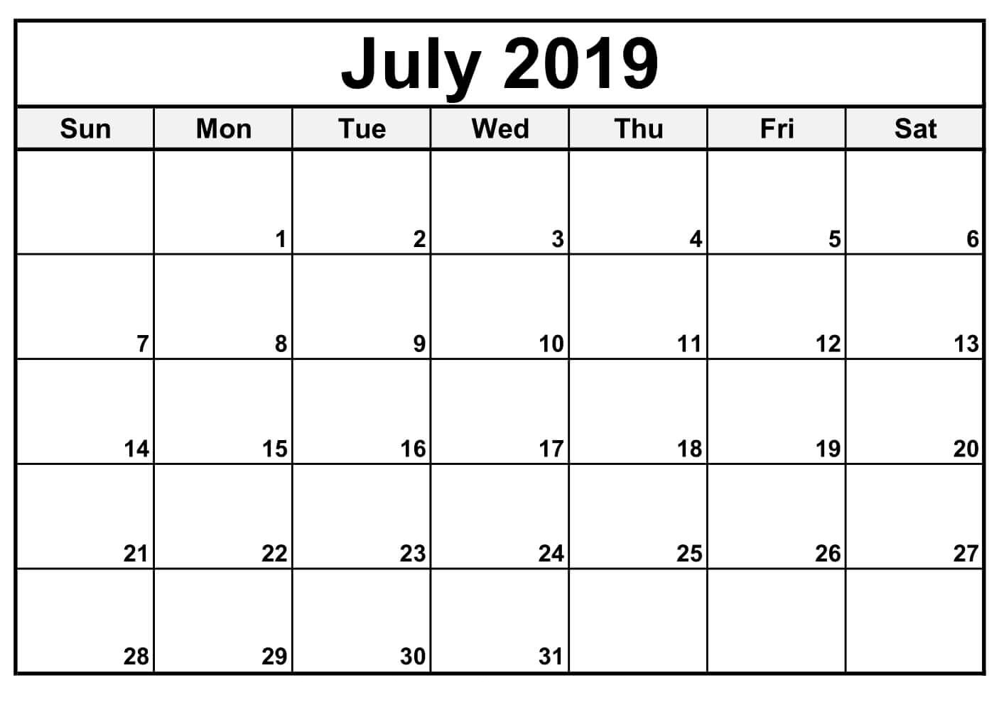Fillable June 2019 Calendar Printable