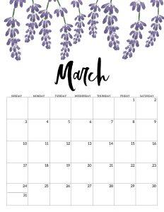 Floral Calendar Template March 2019