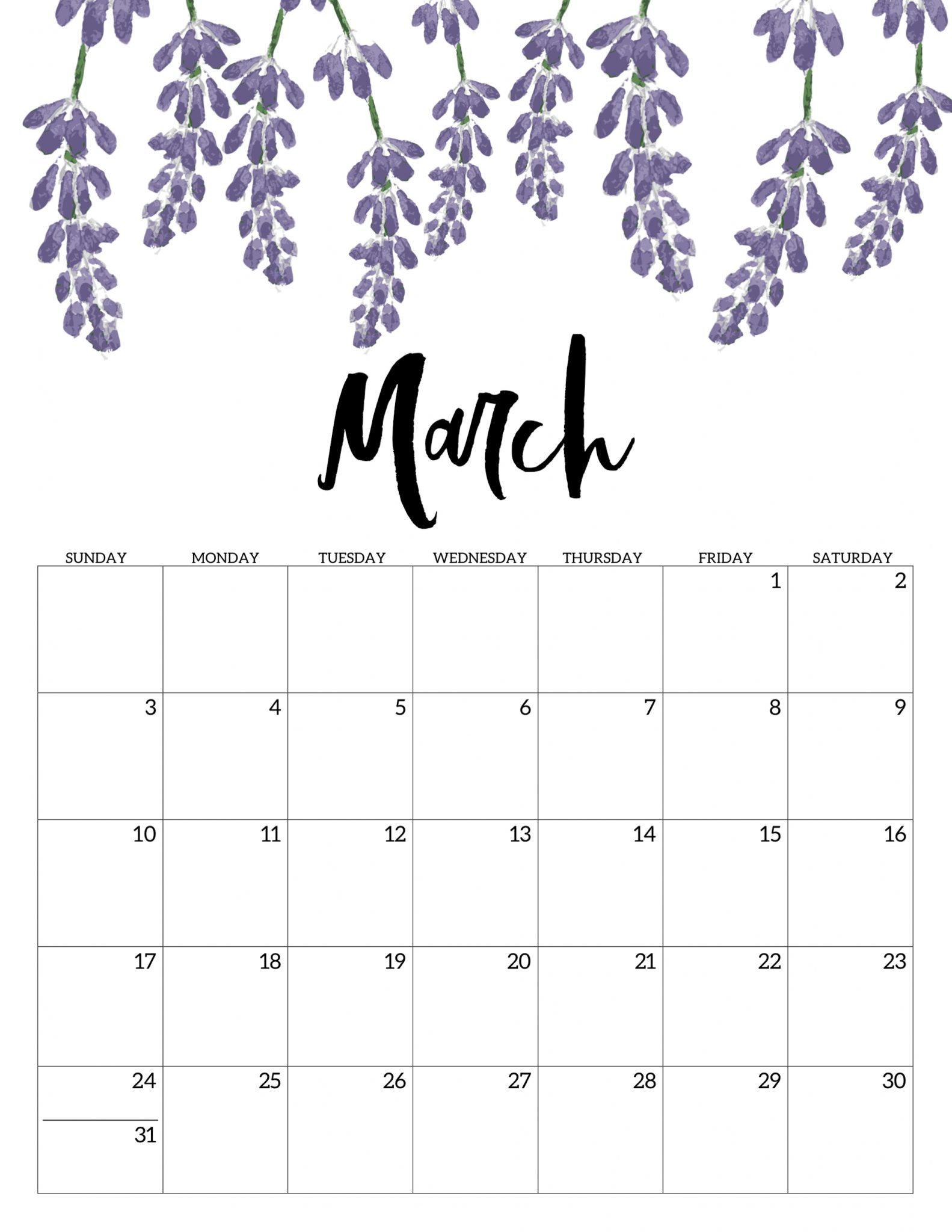 Floral Calendar Template March 2019