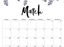 Floral March 2019 Blank Calendar