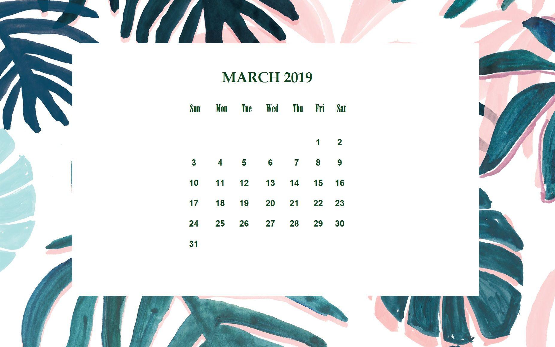 Floral March 2019 Desktop Calendar